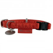 COLLIER REGLABLE MC LEATHER 25 MM ROUGE ZOLUX