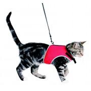 Harnais doux avec laisse pour chats 120CM/24-42CM ROUGE
